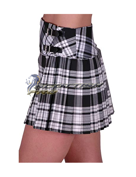 New White And black Tartan Mini KIlt Skirt