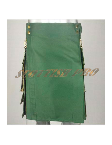 New cotton Olive Green Como pocket kilt