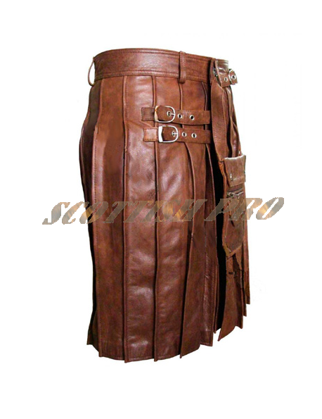 Men's Real Brown Leather Kilt /LARP Utility Kilt Gladiator Pleated Wedding Kilts