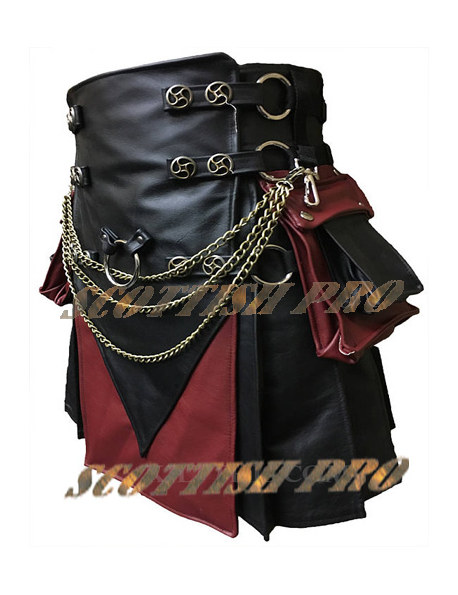Interchangeable Black & Red Leather Cargo Utility Kilt
