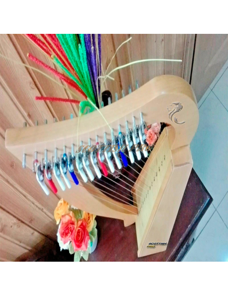 New 15 Strings Baby Harp Small Harp With Metal Levers Carry Bag Tuning Key and Extra String Set