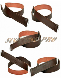 Leather Kilt Belt Adjustable size for Kilts Highland Brown Embossed or Plain