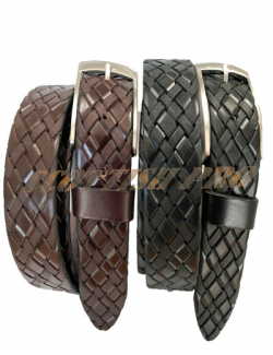 100% FULL GRAIN HIDE LEATHER BELT BLACK BROWN WEAVE BRAID PLAITED 40MM