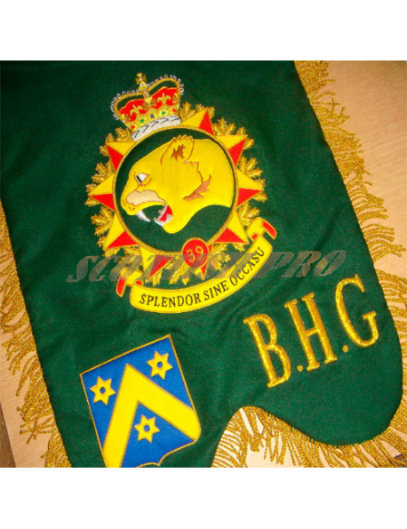 Customized Bespoke Custom made Bagpipe Banner Hand Embroidered