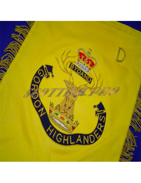 Gordon Highlanders Bagpipe Banner | Royal Bagpipe | Hand Embroidered by Scottish pro