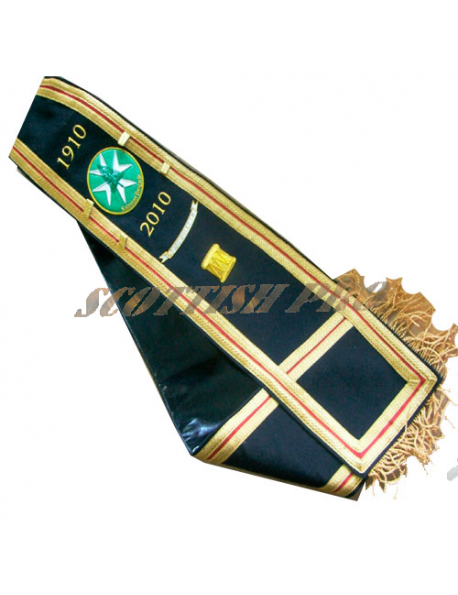 Pipe Major Drum Major SASH HAND EMBROIDERED WITH BAND BADGES on BOTH SIDES.