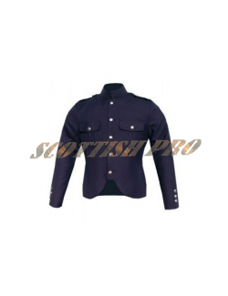 Canadian police style cutaway tunic in navy blue gabardine wool