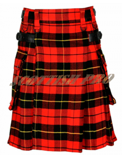 New Wallace Tartan Men's Scottish Tartan Utility Modern Kilt with Pockets