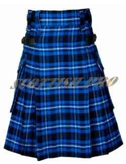 Mens Scottish American Patriot tartan Leather Strap Utility Kilt with Pocket