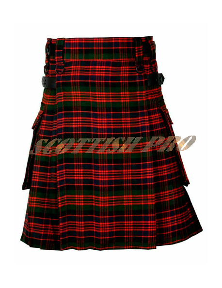 Handmade Mens Scottish Macdonald tartan Leather Strap Utility Kilt with Pocket