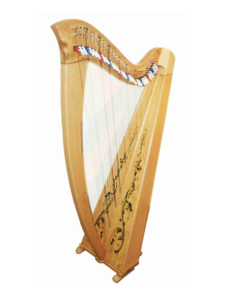 34 string levered harp – natural– with padded bag