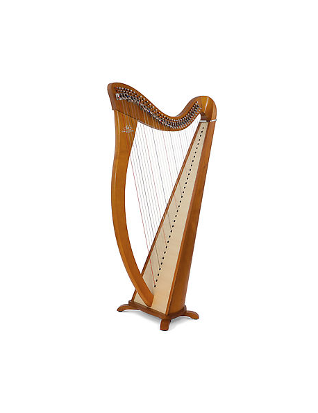 34 string lever harp natural with padded bag