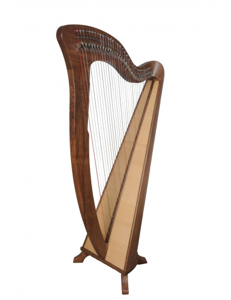 34 string harp with semitone levers in black