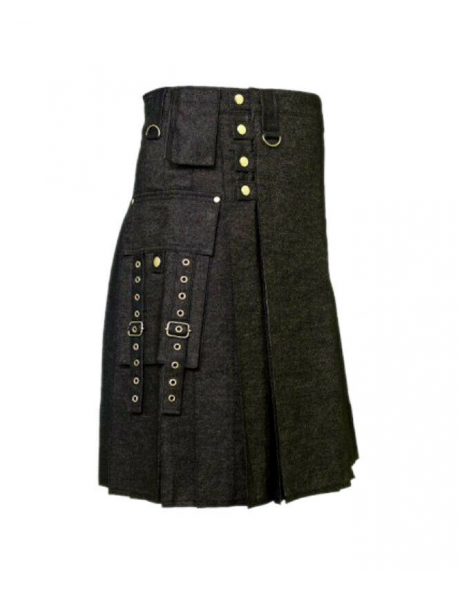 Black Denim Modern Kilt