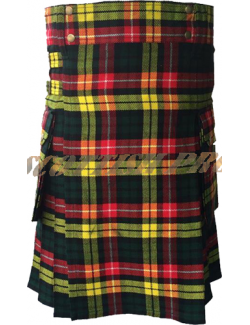 Scottish Men Utility Sports Traditional Buchanan Tartan Kilt